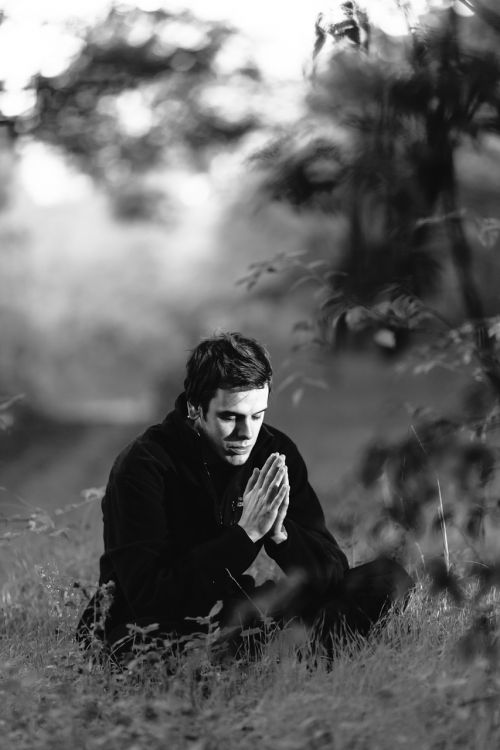 meditation forest young man