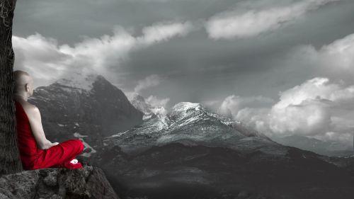 meditation monk snow