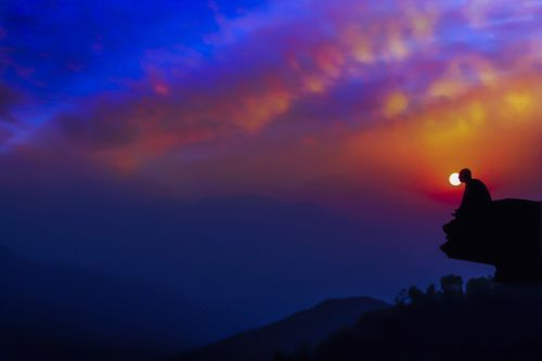 meditation in dusk twilight sunset