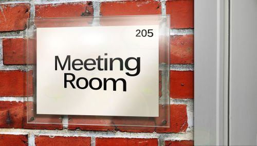 meeting space door sign