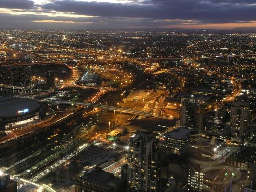 melbourne night cityscape