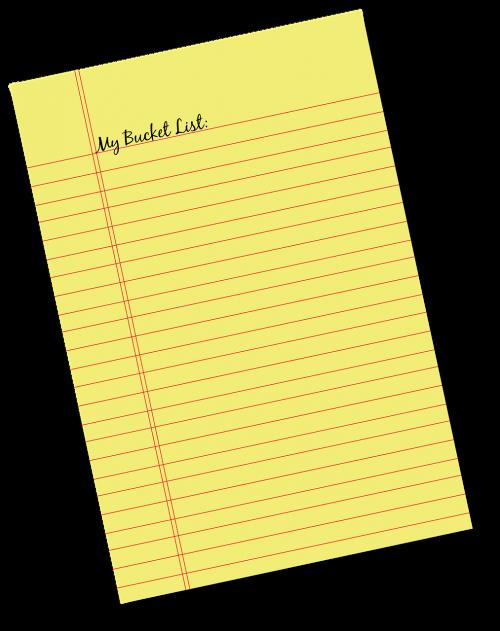 memo note bucket list