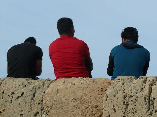 men sitting cyprus
