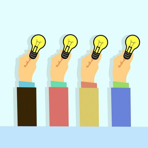 Men Hands Holding Light Idea