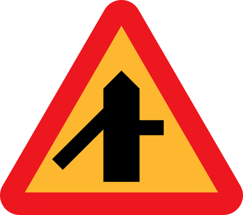 merge sign intersection roadsign