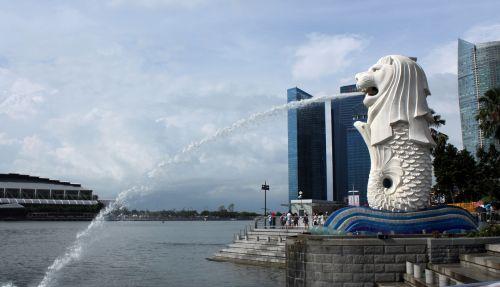 merlionas & nbsp, parkas, Singapūras, statula, vanduo, laimingas, klestėjimas, parkas, turizmo & nbsp, vietoje, vieta, merlion parkas, Singapūras