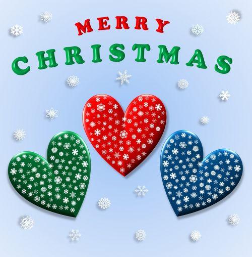merry christmas hearts love