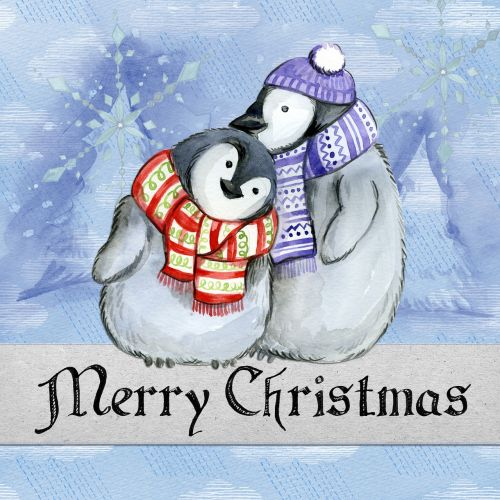 merry christmas penguin watercolor