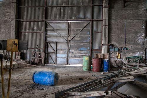 metallic door destruction abandoned factory