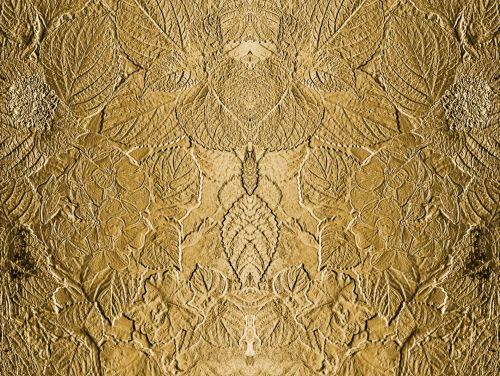Metallic Leaf Relief Background