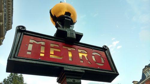 metro sign metro station paris metro