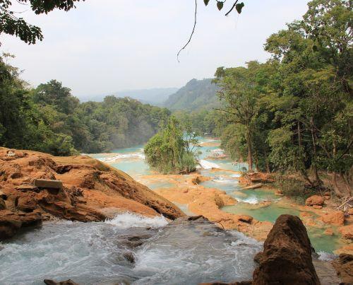 Meksika,agua azul,gamta,Chiapas,mėlynas vanduo,vanduo,akmenys,kraštovaizdis,tylus,natūralus vanduo