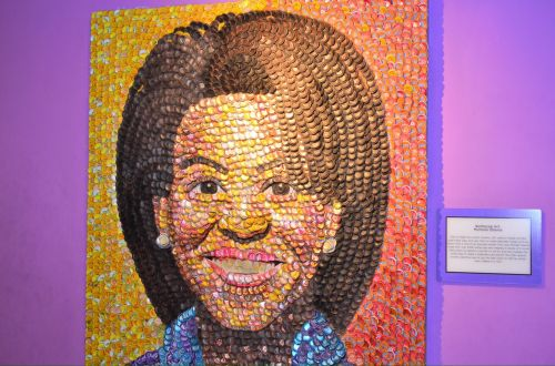 Michelle Obama With Bottletops.