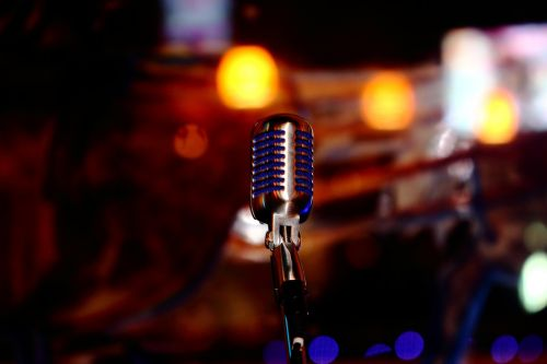 microphone blue chrome