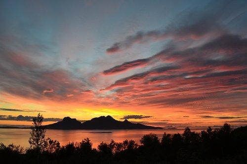 midnight sun  island  ocean