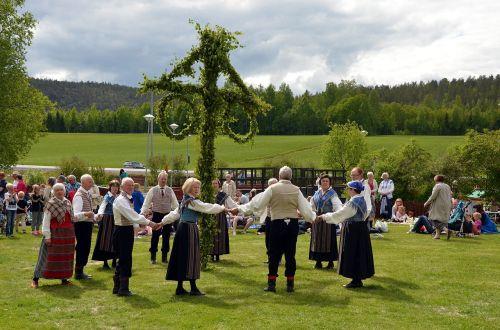 midsummer maypole folk dancing