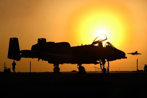 military aircraft silhouette sunset jet