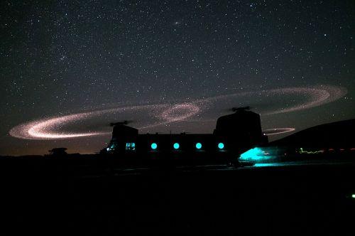 military chinook helicopter night ground