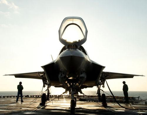 military jet secured silhouettes