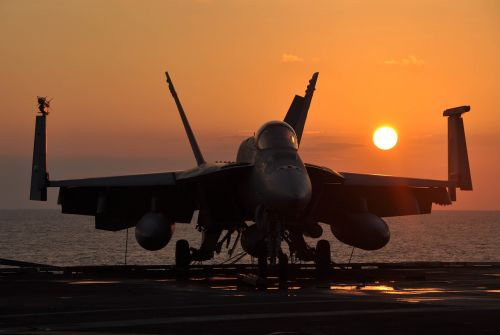 military jet sunset silhouette