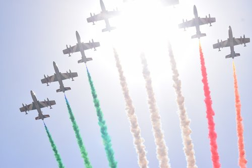 military parade  fly  italian acrobatic fleet