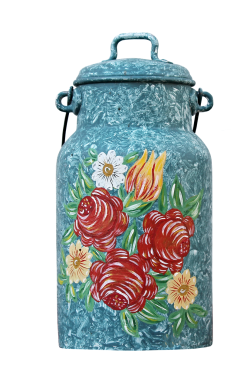 milk can painting ornament
