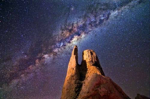 milky way rocks night