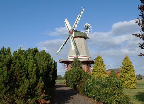 malūnas,vėjo malūnas,žemutinė Saksonija,blenderis,sparnas,olandų vėjo malūnas,dangus,idiliškas,kraštovaizdis,miltų malūnas,krūmai,galerija dutchman