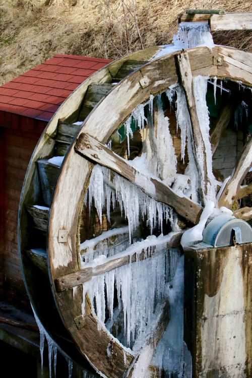 mill waterwheel icicle