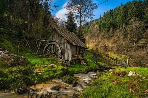 mill on the brook  mill  bach