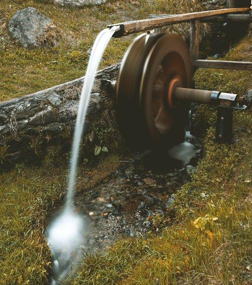 mill wheel  water  bach