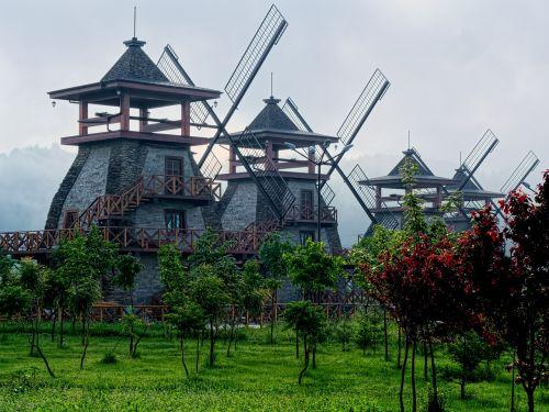 mills in the fog near sofia