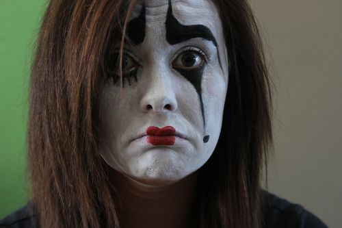 mime brown eyes face painting