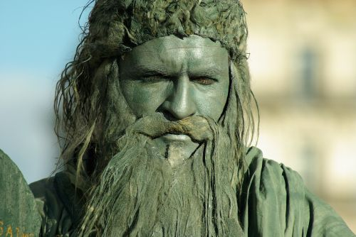 mime statue beard