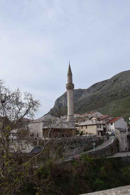 minaret bosnia mostar