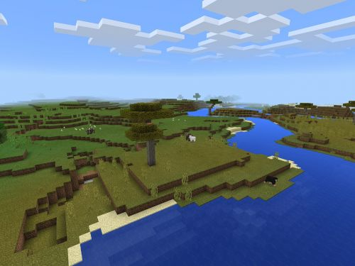 minecraft river scene gaming