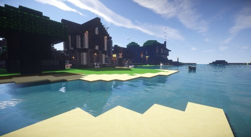 minecraft river medieval build