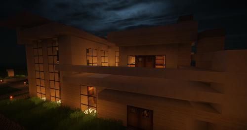 Minecraft,architektūra,moderni architektūra,modernus namas,eksterjeras,naktis,pusė