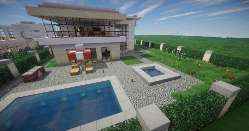 Minecraft,baseinas,architektūra,moderni architektūra,modernus namas,eksterjeras,diena,atgal