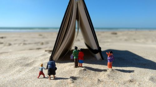miniature figures beach notebook