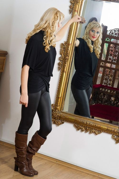 mirror woman blonde