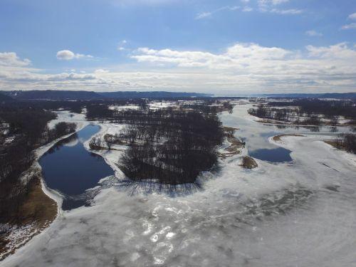 mississippi river blue sky drone