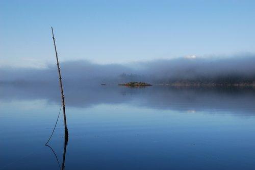 mist  morning  fjord