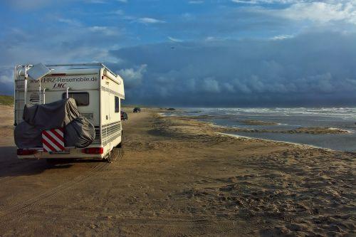mobile home camper on the beach beach