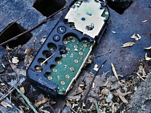mobile phone destroyed waste