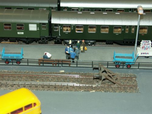 model railway railway station platform