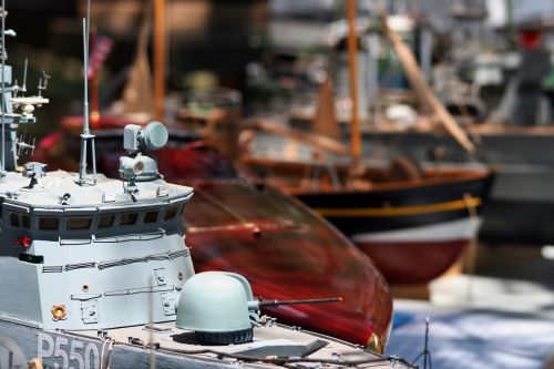 Model Warship With Naval Gun