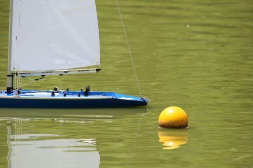 Model Yacht Turning At Buoy Marker
