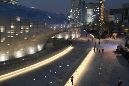 modern structure night view