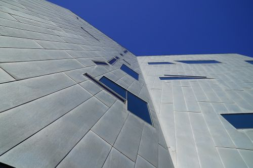 modern architecture metal cladding frontage perspective